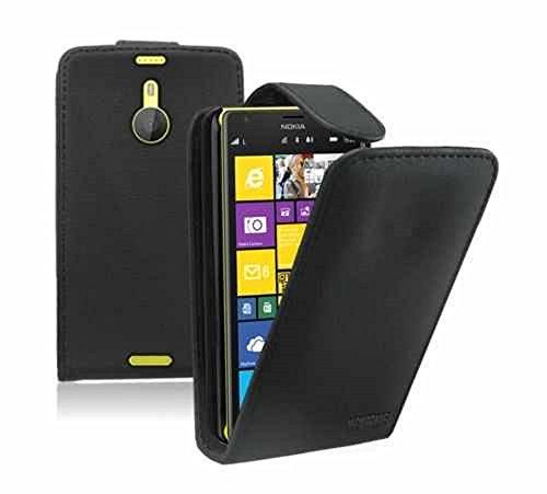Deet CSA Étui à clapet en cuir synthétique avec manchon pour cartes et film protecteur d'écran pour Nokia Lumia 1520 Noir