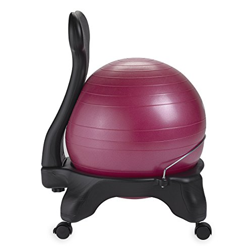 Gaiam Classic Balance Ball Chair – Exercise Stability Yoga Ball Premium Ergonomic Chair for Home and Office Desk with Air Pump, Exercise Guide and Satisfaction Guarantee, Fuchsia
