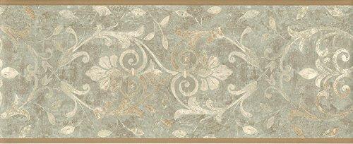 Green Leaf Scroll Wallpaper (Wallpaper Border Tuscan Sage Green and Beige Leaf Scroll with Tan Trim)