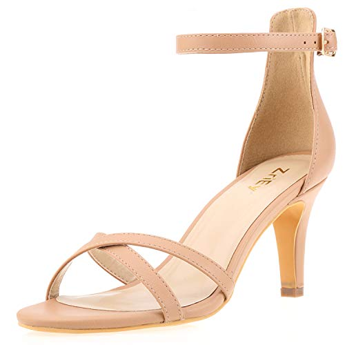 ZriEy Women Sexy Open Toe Ankle Straps Low Heel Sandals Wedding Party Shoes Nude Size -