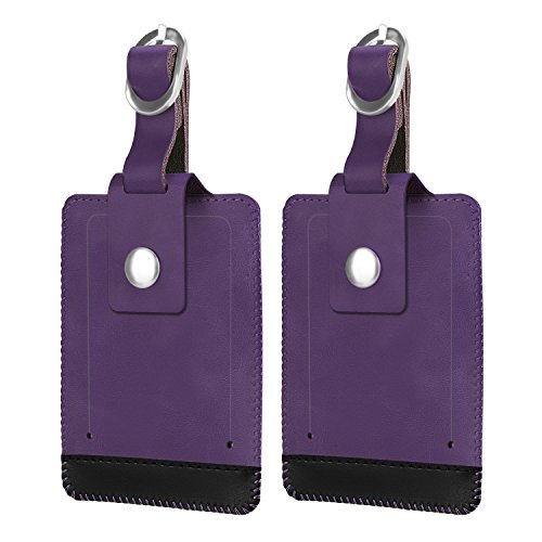Luggage Steel Tags Stainless (Luggage Suitcase Tags, Fintie Travel Baggage ID Identifiers Label Tag with Snap Closure - Set of 2, Purple)
