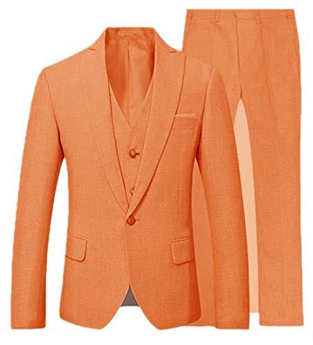 (Suxiaoxi Mens Vintage Linen 3 Pieces Tuxedo Suits Casual Blazer Vests Trousers Suits Orange)