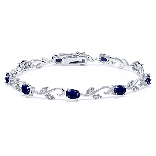 Gem Stone King 925 Sterling Silver Blue Sapphire and Diamond Greek Vine Bracelet 5.08 Ct Oval 7 Inch Gemstone Birthstone ()