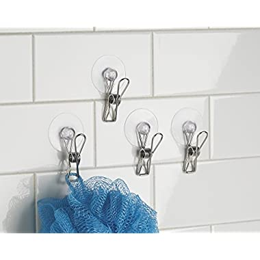 mDesign Suction Storage Clip for Kitchen, Laundry Room, Bathroom (Set of 4) - Clear/Polished Stainless Steel