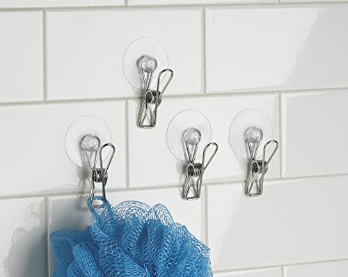 Suction Cup Clip (mDesign Suction Storage Clip for Kitchen, Laundry Room, Bathroom (Set of 4) - Clear/Polished Stainless Steel)