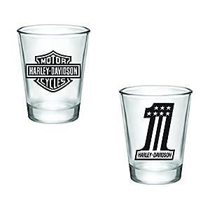 Gift Pack - Harley Davidson Logo and Number 1 Shot Glasses - Set of 2 (2oz) - Great Gift Idea