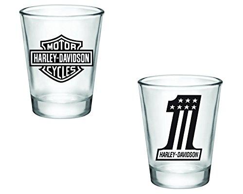 Gift Pack - Harley Davidson Logo and Number 1 Shot Glasses - Set of 2 (2oz) - Great Gift - Glasses Prescription Ireland