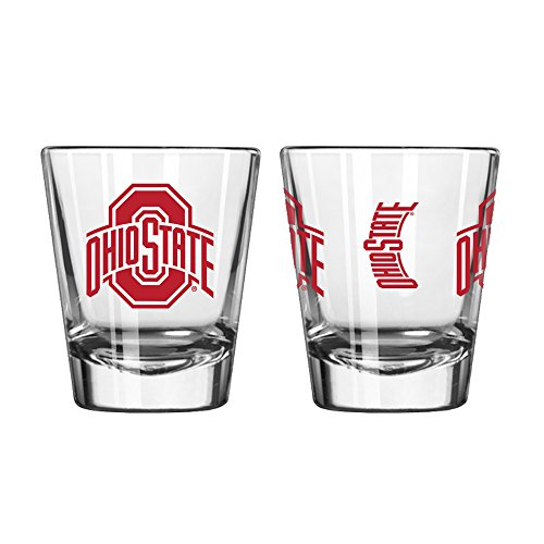 Official Fan Shop Authentic NCAA Logo 2 oz. Shot Glasses 2-Pack Bundle. Show your School and Team Pride at home, your Bar or at the Tailgate. Great Collegiate Gift (Ohio State Buckeyes)