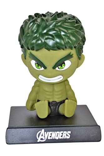 (Avengers Cell Phone Holder PVC Bobble Head Figure Car Dashboard Office Home Accessories Ultra Detail Doll (Hulk))