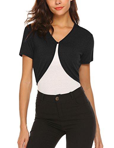 - HOTOUCH Womens Crop Cardigan Short Sleeve Shrug Bolero Short Seaters Black L