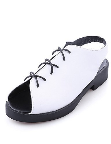 ShangYi Black Dress Black Career Toe Peep Flat Casual Nappa White Women's Leather Heel Shoes amp; Sandals Office UqwarF7xU