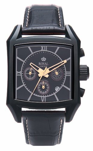 Royal London Men's Quartz Watch with Black Dial Analogue Display and Black Leather Strap 41060-04