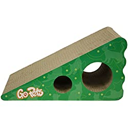 GoPets Premium Cat Scratcher, Wedge Shaped Corrugated Cardboard is Reversible Lasts 2X Longer Includes 1 Pack Catnip, Natural Incline More Ergonomic Than Scratching Post, Cutouts to Hide Toys