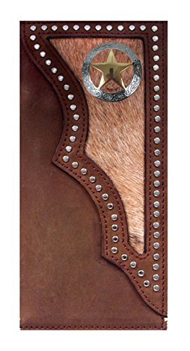 Texas Star Boot (Custom 3D Belt Co. Texas Ranger Lone Star Long Rodeo Checkbook Wallet Hair on Hide Brown)