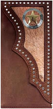 Custom 3D Belt Co. Texas Ranger Lone Star Long Rodeo Checkbook Wallet Hair on Hide