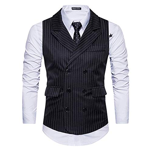 Mens Pinstripe Vest Slim Fit Formal Dress Vest Double-Breasted Business Vest,Black,X-Large]()