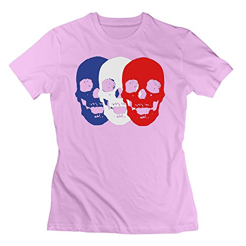 L572 Skull Trio Tee Shirts For Women L Pink by L572