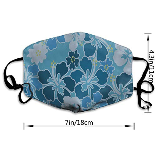 AGRBLUEN Men Women Boys Girls Fashion Breathable Mouth Mask with Adjustable Ear Loops, Safety Dustproof Half Face Mouth Mask (Seamless Patter Flower Hawaiian Style Blue)