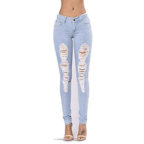Pantalons Slim Bleu Jeans FuweiEncore Up Taille Stretch Push Dchir Skinny Bleu Haute Legging Et Denim Femme Trou dqavrqP