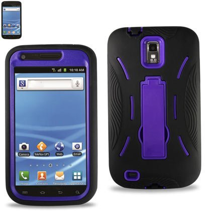 Apex HYBSAMT989BKPUR Premium Heavy Duty Hybrid Case with Kickstand for Samsung Galaxy S2 - Retail Packaging - Purple/Black
