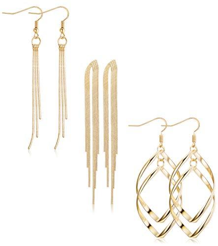 ORAZIO 3 Pairs Dangle Earrings for Women Girls Double Twist Wave Drop Long Tassel Earrings Gold Tone