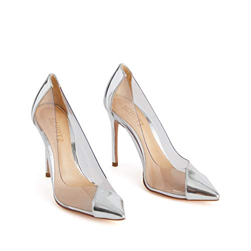SCHUTZ Women's High Heel Cendi Pointed Toe Pumps Silver