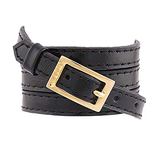 LALÉ Woman wrap Genuine Leather Bracelet | Twists Four Times Around The Wrist | Ironwork Plated in Gold Buckle for Closure | Adjustable Size | Handmade Jewelry (Black, 6.5) (Around Wrap Buckle)