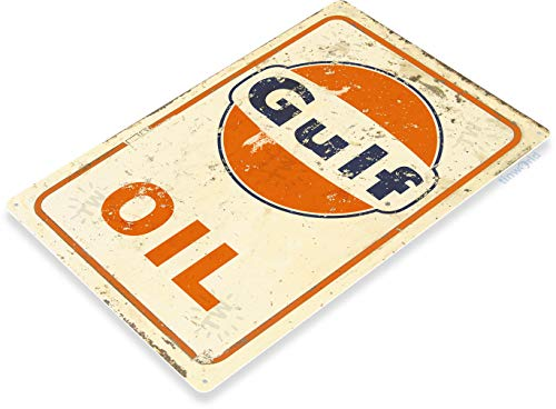 (Tinworld TIN Sign C303 Gulf Oil Rustic Retro Gas Station Auto Shop Sign Garage Cave)