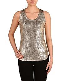 Nygard Women's Regular Slims Metallic Tank Top Gold Foil