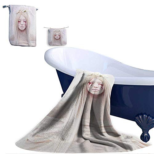 Home 3 Piece Bath Towel Set, Beautiful Young Woman with Blood from her Eyes.Blond Sexy Halloween Girl.Horror with Flowers Material - 100% Microfiber,Ideal for Bathroom Office and Gym use.]()