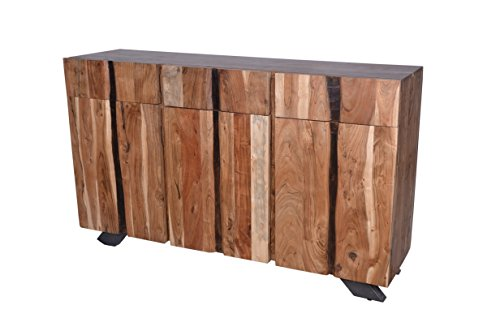 Designe Gallerie D191-104 Baxter Edge Spacious 3 Door Sideboard, Buffet Table, 3 Drawers for Storage, Living, Dining Room, Rustic Look-Natural, ()