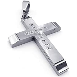 Stainless Steel Necklaces, Men's Pendant Necklace Heavy Cross Silver 18-26 Inch