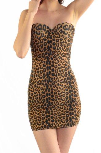 Curvi Body Shaper Shapewear Compression Slimming Control Slip With Hidden Underwire Bra Strap Or Strapless (Large, (Leopard Slip Bra)