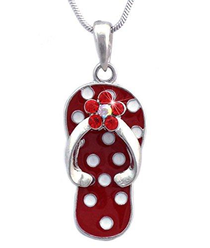 cocojewelry White Polka Dot Red Flip Flop Beach Sandal Flower Pendant Necklace (Red) - Flip Flop Pendant Flower