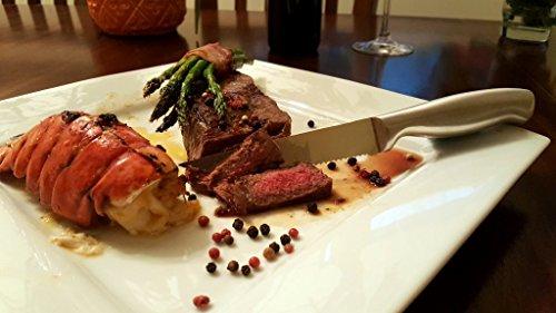 Ashlar Steak Knives Set of 4 Serrated Stainless Steel Dishwasher Safe Ideal Family Dinner Kitchen Set Full Edge Serration Rust Resistant by Ashlar (Image #2)