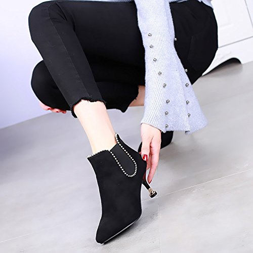Martin Sexy 7Cm Toutes Chaussures D'Hiver KHSKX black Rivets Bottes Bottes De Avec Les Match Bottes Un H67X7zx