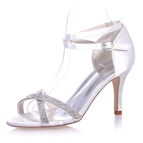 Shoes White Open Beaded 9920 Pump High Party Satin Wedding 05 Heel Toe Fanciest Women's Evening Bridal wBHU7Zq
