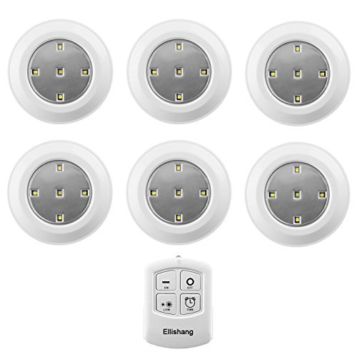 Puck Lights with Remote Control, Ellishang 6 Pack LED Tap Lights Battery-powered Wireless Night Lights Kitchen Under Cabinet Lighting,Stick on Push Lights for Closets,Pantries-White
