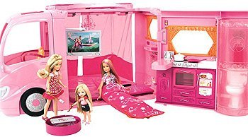 Barbie Pink Glamour Camper with Dolls Play Set by Mattel My Size Barbie Clothes