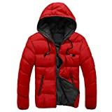 Faionny Mens Down Cotton Clothes Slim Casual Warm Jacket Hooded Winter Thick Coat Parka Overcoat