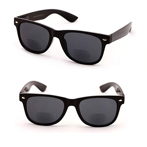 Classic Bifocal Outdoor Reading Sunglasses - Comfortable Stylish Simple Readers Rx Magnification (2 Black Lens, 2.00)