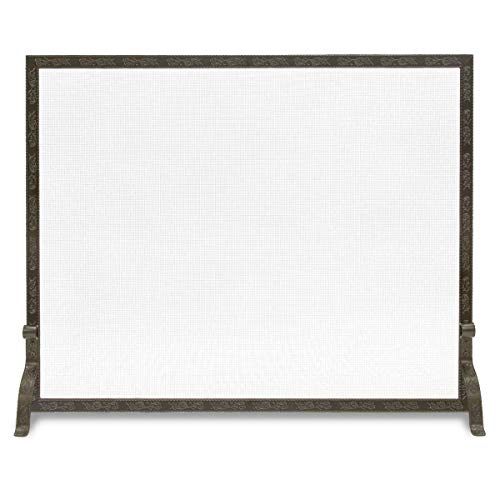 Pilgrim Home and Hearth 18253 Bay Branch Embossed Single Panel Fireplace Screen, Burnished Bronze, 39″W x 31.5″H, ()