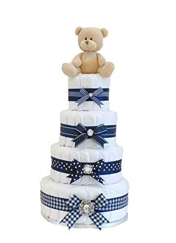 Firma cuatro Tier azul marino Boy - tarta de pañales/bebé cesta/bebé ...