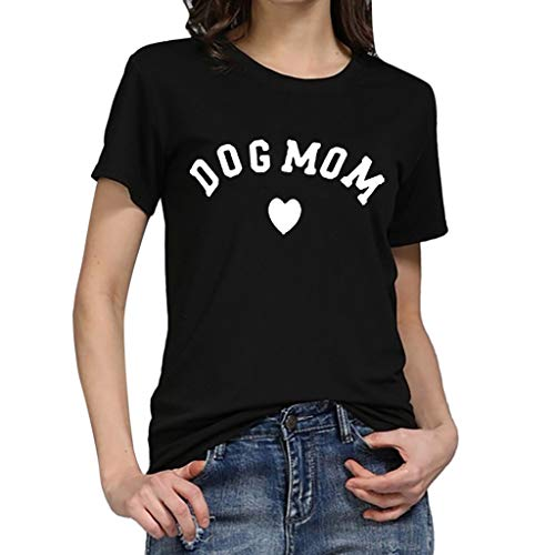 Studded Top Draped (Sunhusing Women's Simple Letter Love Heart Print Short Sleeve T-Shirt Casual Joker Top Black)