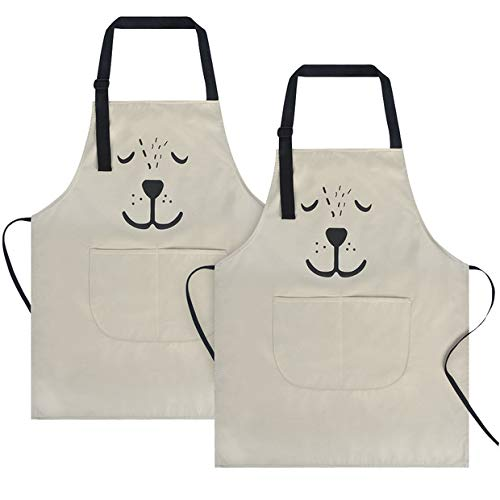 (KinHwa Waterproof Kids Apron 2 Pockets Kichen Chef Aprons Adjustable Children Bib Apron Cooking, Baking, Painting and Party Perfect for 3-6 Years Old (Off-White 2 Pack))