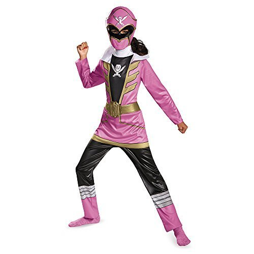 Pink Ranger Super Megaforce Girls Costumes (Disguise Saban Super MegaForce Power Rangers Pink Ranger Classic Girls Costume, Large/10-12 by Disguise Costumes)