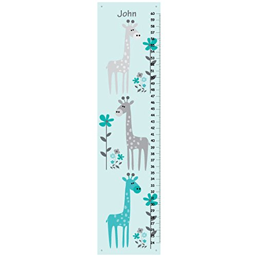 Giraffe Growth Chart for Children, Personalized Boys Growth - Giraffe Growth Chart Canvas