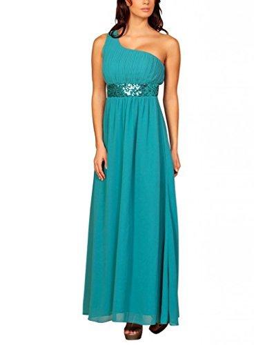 Fashion para mujer One de casa de diseño de larga vestido con diseño de lentejuelas y vestir para el hombro turquesa