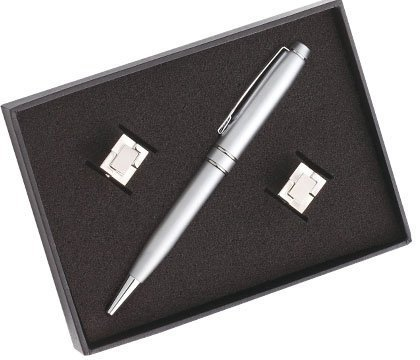 Aeropen International PCU-02 Satin Chrome Ballpoint Pen and a Pair of Cufflink in Black Gift Box Set by Aeropen International ()