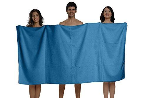BUNDLE OF 6, 40''x80'', Turkish Spa Bath Sheet, 660 GSM. (BODRUM BLUE) by THIRSTY (Image #1)